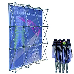 8x8ft (3×3), Velcro Tension Fabric Backdrop Booth Frame Straight Pop Up Display Stand (ONLY Hardware)