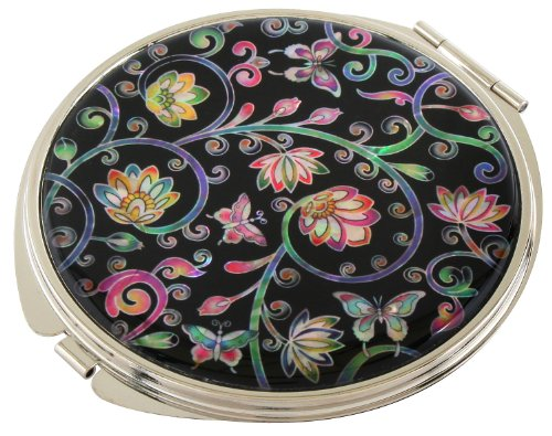 Handmade Handcrafted Mother of Pearl Magnifying Double Compact Cosmetic Makeup Round Hand Mirror lacquer wares inlaid with Flower and Vine ()
