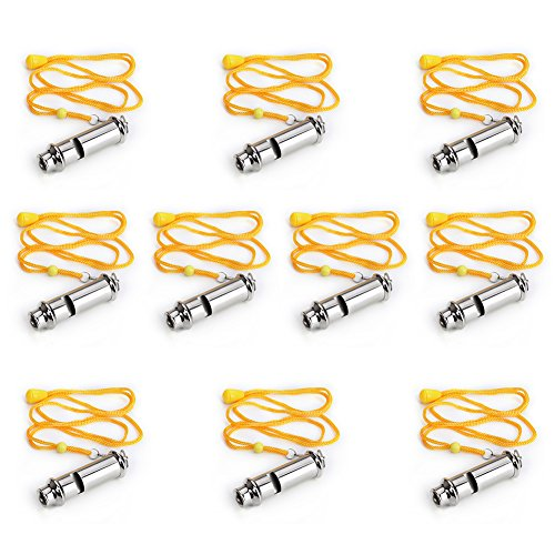 GOGO 10 Pcs Metal Police Whistle, Scout Guide, Emergency Sur