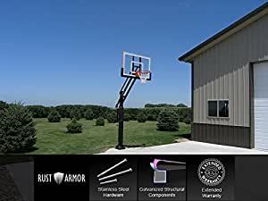 "Pro Dunk Silver With Rust Armor: In-ground Adjustable Basketball Goal Hoop with 54"" Glass Backboard System for Outdoor Basketball Courts"