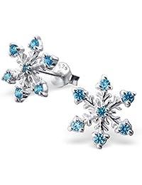 925 Sterling Silver Snowflake w/ Aquamarine CZ Christmas Stud Earrings 16162