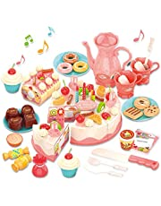 GILOBABY Birthday Cake Toy with Lights & Sounds, Pretend Play Cutting Food Kitchen Toy with Tea Set Bread Roll, Chocolate, Sandy & Dessert, Gift for Girls Boys 3 4 5 Year Old Birthday Party (82 PCS)