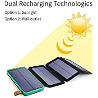 Solar Charger ENERGY 10000 mAh Power Bank With 4 Foldable Portable Panels Dual USB Output 5V 1A/2A Backup Battery for Iphone Ipad Air Samsung Galaxy Phone Android Ipod Camera