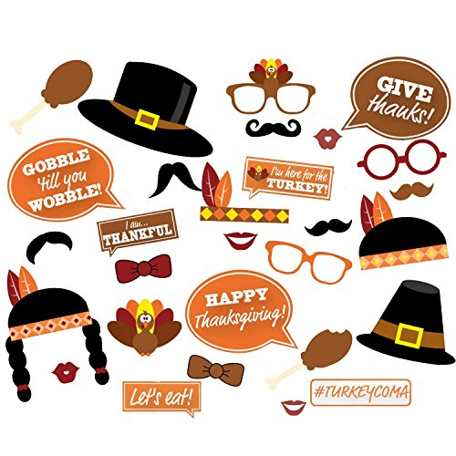 Thanksgiving Photo Booth Props - Happy Thanksgiving Day Photobooth Costume DIY Kit - 29pcs (Turkey Costume Diy)