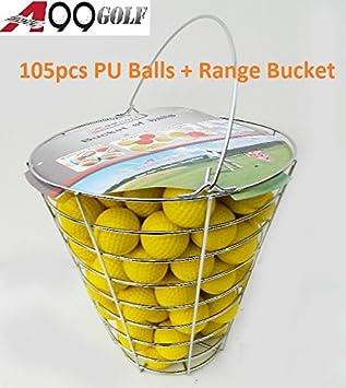 A99 Golf 105 piezas de pelotas de golf de espuma de poliuretano amarilla para practicar golf con cubo de metal.: Amazon.es: Deportes y aire libre