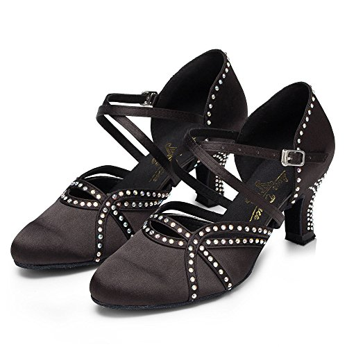 Baile Té Altos 5cm Zapatos Tango Sandalias Tacones De Mujer Sparking Samba Shoes Latin Satin Cristales Jazz Black7 De Modern Salsa 8SRwF