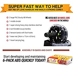 Ab Roller Abdominal Workout Wheel - AB WOW Abs Trainer Abdominal Exercise Equipment with Bonuses, Supports up to 500 lbs