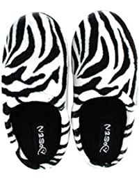 Mens Zebra Stripes Coral House Slipper Bedroom Slippers