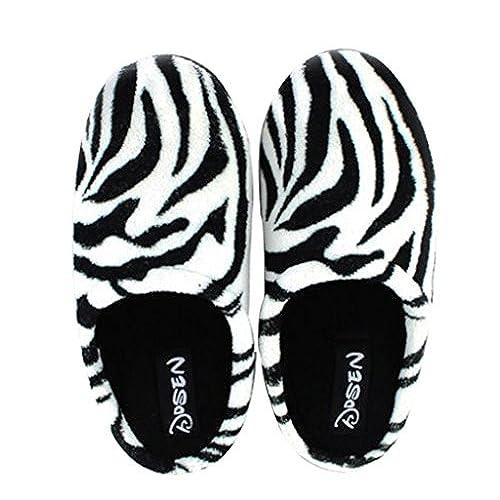 Cattior Mens Zebra Stripes Coral House Slipper Bedroom Slippers