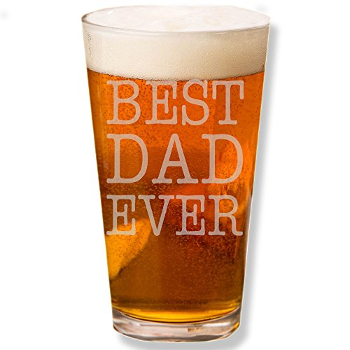 Shop4Ever Best Dad Ever Laser Permanently Engraved Beer 16 oz. Pint Glass ~ Unique Gift for Dad ~ Father's Day Tumbler Cup ~ (1-Beer Pint Glass) (Beer Glass Of 1)