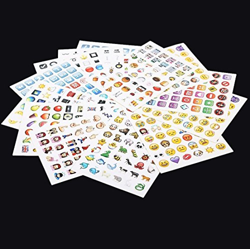 [Wise 2 Sheet 96 Die Cut for Tablet Laptop Decor Vinyl Random Emoji Stickers] (Hearts Costumes Shoe)