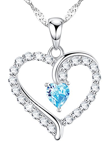 1 Wife Heart Pendant - Dorella Love Hearts Necklace Gifts You Are the Only One in My Heart for Women Aquamarine Jewelry Anniversary Birthday Gifts for Her for Wife for Lady Present Sterling Silver Swarovski