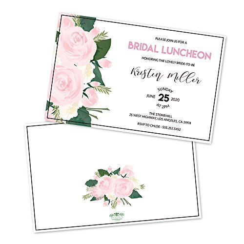 Bridal Luncheon Invitations (Rose Floral Personalized Bridal Luncheon Invitations)