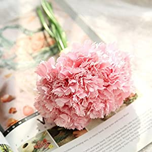 Yezijin Artificial Fake Flowers Carnations Floral Wedding Bouquet Bridal Hydrangea Decor Home Indoor Outside Decor 89