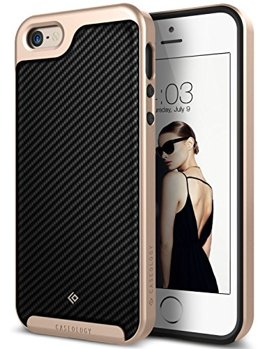 SE/5S/5 case [Envoy Series] - Classic Rich Texture Luxury Slim Premium Leather Design Case for iPhone SE/5S/5 - Carbon Fiber Black ()