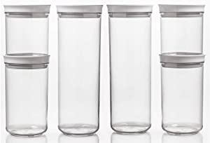 SANNO Food Storage Containers with Lids Airtight 6PCS Kitchen Pantry Organization Storage Containers PBA Free Clear Plastic Canisters Sets for Flour, Sugar, Cereal