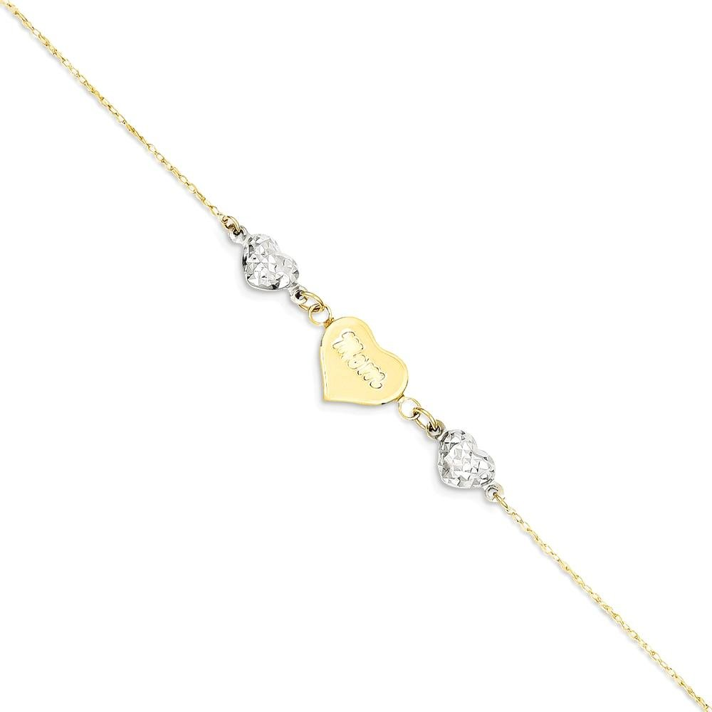 ICE CARATS 14k Two Tone Yellow Gold Hearts Mom 1 Inch Adjustable Chain Plus Size Extender Anklet Ankle Beach Bracelet Fine Jewelry Gift Set For Women Heart