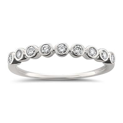 Amazon.com: 14k White Gold Round Diamond Bezel-Set Wedding Band Ring ...