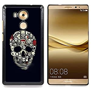 - Skull Pattern Haunted Halloween Black - - Snap-On Rugged Hard Cover Case Funny HouseFOR Huawei Mate 8