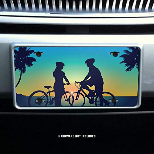 Cycling Couple Sunset Printed Vanity Front License Plate Tag KCFP098 KCD