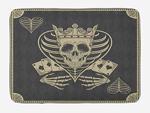 Weeosazg Skull Bath Mat, Vector Skull Poker Cards Play Game Scary Horror Image with Crown and Heart, Plush Bathroom Decor Mat with Non Slip Backing, 23.6 W X 15.7 W Inches, Dark Grey Tan Beige]()