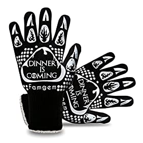 Famgem Grill Gloves Oven Mitts 932°F Extreme Heat Resistant Novetly for Kitchen, Baking, BBQ - 1Pairs