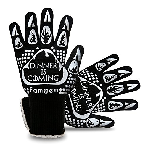 Famgem Grill Gloves Oven Mitts Kitchen 932F Extreme Heat Resistant for BBQ/Baking 1Pairs by Famgem