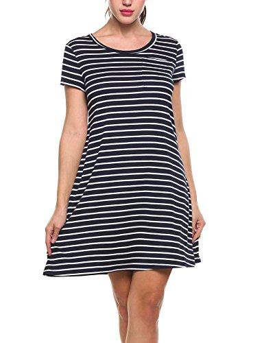 Short Crewneck Line Sleeve Tee (Zeagoo Women's Casual Crew Neck Short Sleeve Striped Loose T-Shirt A Line Dress Navy Blue Small)