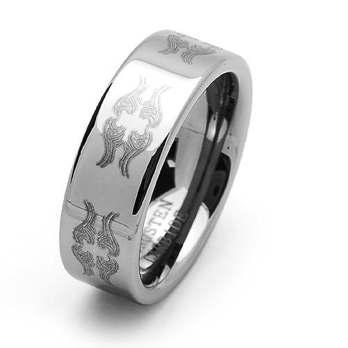 Pequeños Tesoros - 8MM Carburo De Tungsteno - Anillo De Matrimonio Laser Grabado Hombres Mujeres Libre