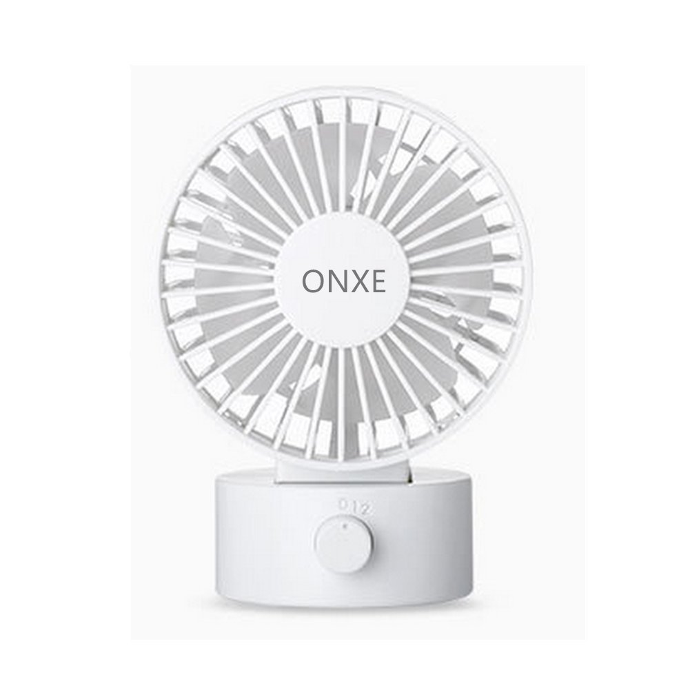 ONXE Quiet Desk FAN, Small Mini USB Table Desk Desktop Personal Fan Cooling for Room Office (2 Speed Modes Dual Blades Simulate natural wind, High Compatibility) - White