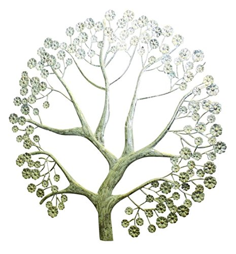 Large Tree of Life Wall Plaque  Winter Silver Sculpture Holiday