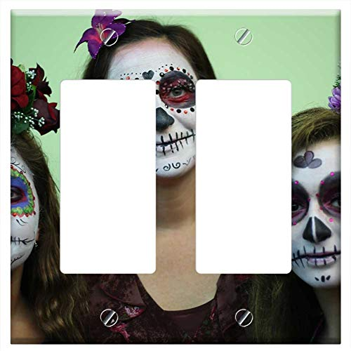 Switch Plate Double Rocker/GFCI - Dead Party Halloween Day Of The Dead Skeleton ()