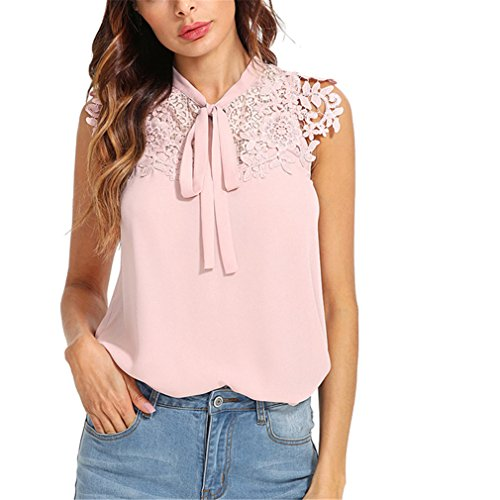 Top Applique (Lace Applique Tied Neck Bow Top Women Stand Collar Sleeveless Summer Blouse Pink-L)