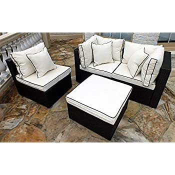 Amazon Com Jj International F8102 Wicker Sofa Set Beige