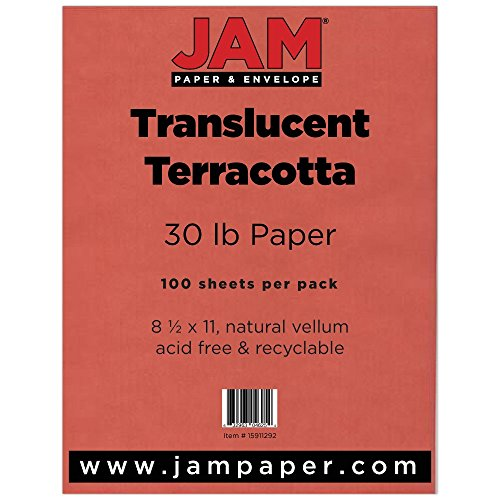 JAM Paper Translucent Vellum Paper - 8.5 x 11 - 30lb Terracotta Red - 500 Sheets/Ream by JAM Paper