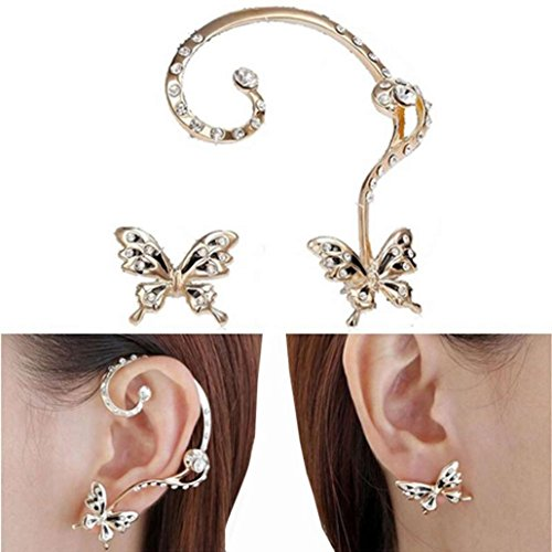 Outfit Capri Ladybug Set (Ear Cuff Clip, Muranba 2PCS Women Butterfly Ear Cuff Clip Stud Crystal Rhinestone Earrings (Gold))