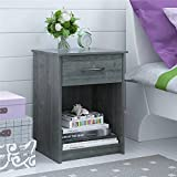 Mainstays Nightstand MDF End Tables Pair Bedroom Table Furniture Multiple Colors (1-piece, Gray)