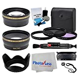 52mm Lens 3 Piece UV Filter Accessory Kit for Canon, Nikon, Sony, UV/CPL/FLD + Telephoto Lens + Wide Angle + Lens Hood + Lens Cap Holder + Cleaning Cloth + 5 Piece Cleaning Kit + Special Effect Bundle