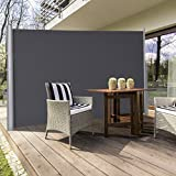 """TANGKULA Outdoor Patio Retractable Folding Side Screen Awning Waterproof Sun Shade Wind Screen Privacy Divider (118.5"""" x 71"""", Grey)"""