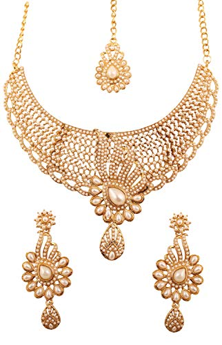 Touchstone Indian Bollywood Tinsel Town Exclusive Kundan Polki Look Faux Pearls Heavy Designer Bridal Jewelry Necklace Set for Women in Antique Gold - Jewelry Bridal Designer