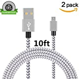 Micro USB Cable, Asstar [2 Pack] 10FT Extra Long Premium Nylon Braided High Speed USB to Micro USB Charging Cord Android Charger for Samsung Galaxy S7 / S6 / S5 /Edge,HTC,LG,Nexus (2Pcs 10ft)