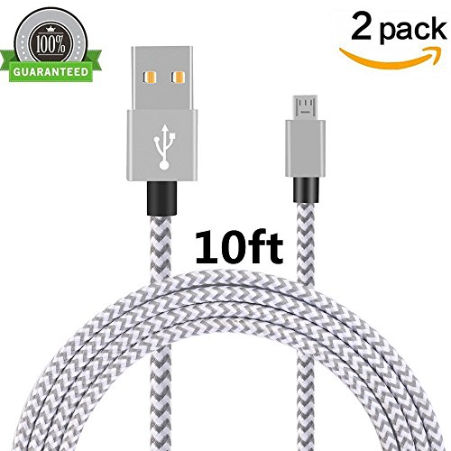 Price comparison product image Micro USB Cable, Asstar [2 Pack] 10FT Extra Long Premium Nylon Braided High Speed USB to Micro USB Charging Cord Android Charger for Samsung Galaxy S7 / S6 / S5 /Edge,HTC,LG,Nexus (2Pcs 10ft)