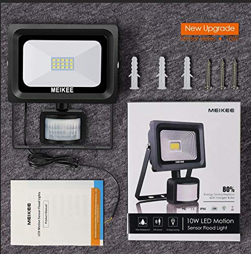 MEIKEE 10W Motion Sensor Light, Super bright LED Flood Lights, UK Standard Safety Line, High Output 900lumen, 60w Halogen Lights Equivalent Replacement, Waterproof, Security Lights, PIR Floodlight