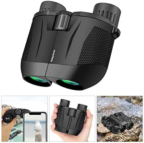 High Power Binoculars,10×25 HD Binoculars for Adults with Low Light Night Vision,BAK4 Prism,FMC Lens,Fogproof Waterproof,Compact Folding Binoculars for Bird Watching Hunting Travelling Concerts