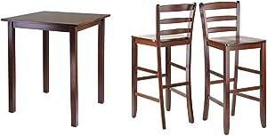 Winsome Wood Parkland Dining, Walnut & 29-Inch Bar Ladder Back Stool, Set of 2