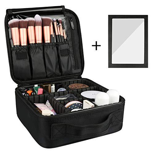 Rosmax Travel Makeup Case,Portable Organizer Makeup Bag Cosmetic Train Case with Mirror – Large Capacity and Adjustable Dividers for Cosmetics Makeup Brushes and Toiletry Jewelry for More Storage