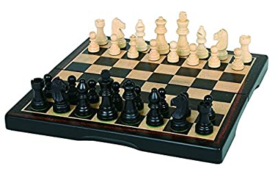 """Hansen Games Classic Ebony Inlaid Wooden Chess Set 15"""" Folding Board with 3"""" King"""