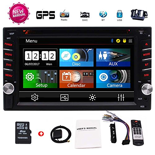 EinCar 2 Din Car GPS Navigation 6.2'' Capacitive Touch Screen in-Dash Car Stereo DVD CD Bluetooth GPS Radio Entertainment support USB SD AUX 1080P in with 8G Navi Card + Rear View (Capacitive Touch Screen Gps)