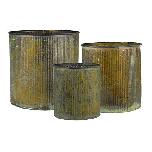 Metal Planter Pots (CYS® Corrugated Zinc Metal Galvanized Plant Pot Cylinder Vases, Pots, Planters - Set of 3)