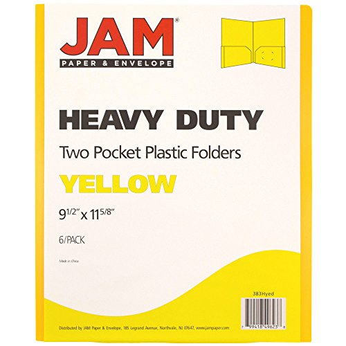 JAM Paper Heavy Duty Plastic Two Pocket Presentation Folders - Yellow - 6/pack